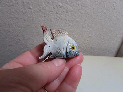 Fish, Solid stone Hand carved from Andes. Richly Colorful Miniature Fish, Unique