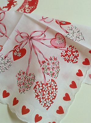 Gorgeous New Valentine Handkerchief - Festive Hearts & Streamers!