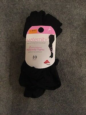 2 X Maternity Tights. 40 Denier. Black. Size Large