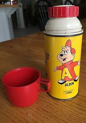 Alvin And The Chipmunks 1963 Metal Thermos Bottle For Lunchbox Vintage Nice!
