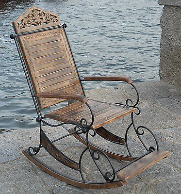 Rocking Chair Seat Solid Mango Wood & Wrought Iron Living Bed Room Conservatory