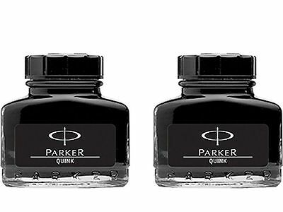 2 X Parker Quink - Black Ink - Bottle ( 30 Ml ) - 1 oz - New Sealed Pack