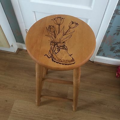 Restored Pyrography Pine Stool