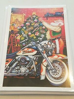 10 HARLEY DAVIDSON CHRISTMAS CARDS #X700 SNOWMAN BIKER IN LEATHER AND HARLEY