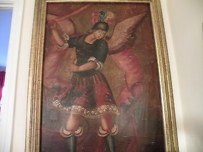 Beautiful Antique Religious Peruvian Painting with Archangel Gabriel?