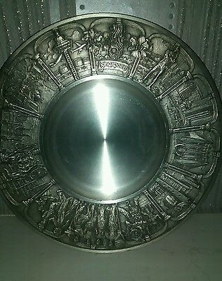 pewter plate from singapor vintage