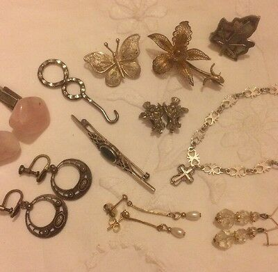 Job Lot Antique Vintage Collectibles Jewellery Bits And Bobs Silver