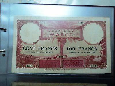 Morocco 100 Francs 1-2-1921 Banknote -Rare Note-