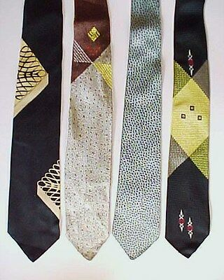 4 Vintge NECK TIES 1940s-1960s E'TOILE Dunhill BEMBERG Rockabilly MCM Swing SILK