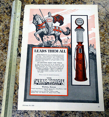 The Clear Vision Pump Co Visible Gas Pump Color Magazine Ad - 79 - FREE SHIPPING