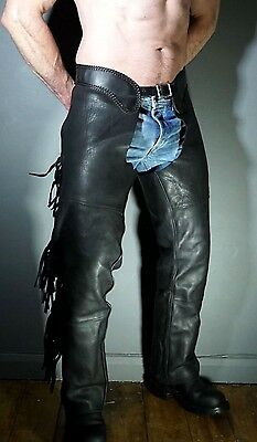 Made in USA SPIDERS DEN Heavy Duty Leather Western Cowboy Uniform BLUF Chaps