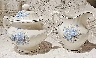 Vintage J & G Meakin Classic White Ironstone Creamer & Sugar Bowl With Lid Set