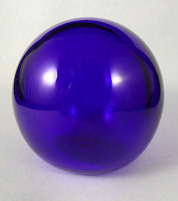 Signed Bristol Blue Glass, Orb/Small Net Float/Paperweight