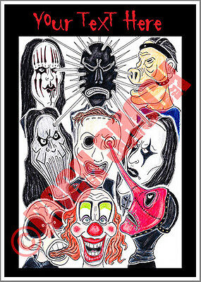 SLIPKNOT Caricature Personalised Text Greeting Card Heavy Nu Metal Rock Masks