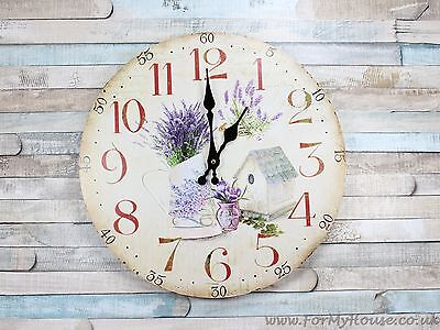 Lavender bird house large wall clock 34cm