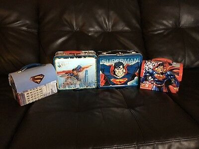 1998 Superman lunch box with thermos Plus Bonus Lunchboxes - DC MARVEL COMIC