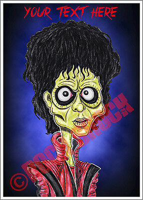 Michael Jackson Thriller Caricature Personalised Greeting Card Zombie Birthday