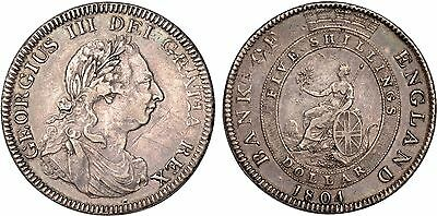 1804 George III Bank of England Dollar Five shillings silver coin