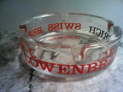 Vintage Lowenbrau Zurich Swiss Beer Clear Glass Ashtray Red/Black Advertising