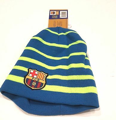 b45befd0972cc7 FC Barcelona official New W/Tags Fitted Beanie Winter Hat Cap K1E34 Blue  Stripes
