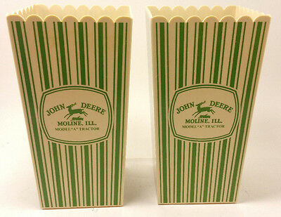 "2 John Deere Collectibles Moline ILL Model ""A"" Tractor Movie Popcorn cups"