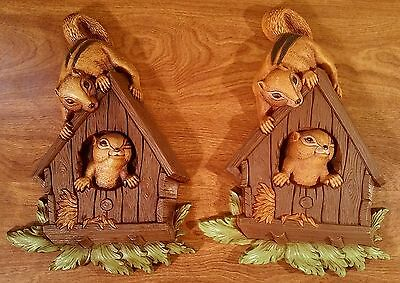 Vintage Pair of Homco Squirrel Wall Plaques