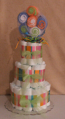 3 Tier Diaper Cake With Washcloth Lollypop Pink & Blue Baby Shower Centerpiece