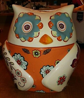 Cracker Barrel Floral stitchwork Owl Cookie Jar perfect display only