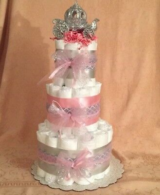 3 Tier Diaper Cake Pink Cinderella Princess Baby Shower Centerpiece U PICK COLOR