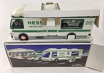 1998 Hess Truck Recreational Van w/Dune Buggy & Motorcycle w/ Lights&Sounds *NIB