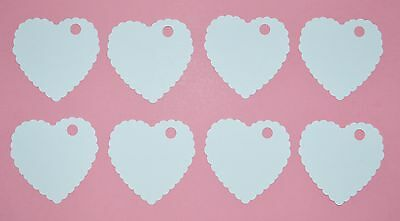 100 x White Scalloped Hearts Gift Tags Weddings Party Luggage Label 47mm x 47mm
