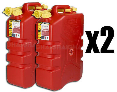 2 x FUEL SAFE 20L PLASTIC RED PETROL JERRY CAN CAMPING FISHING AUSTRALIAN MADE