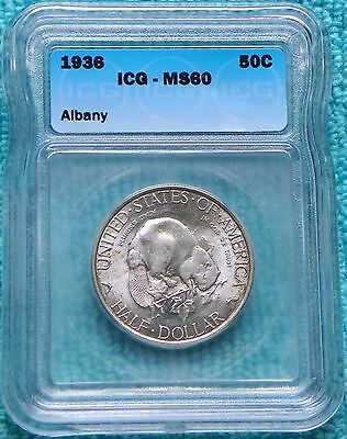1936 MS-60 Albany New York Charter Commemorative Half Only 17,671 Minted
