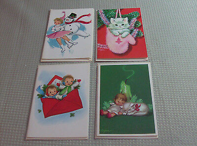 (4) Vintage Cooper Christmas Greeting Cards Unused Env FreeShip