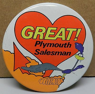 1969 Plymouth Roadrunner Salesman Heart Mopar Pin Pinback Button Dealer Promo