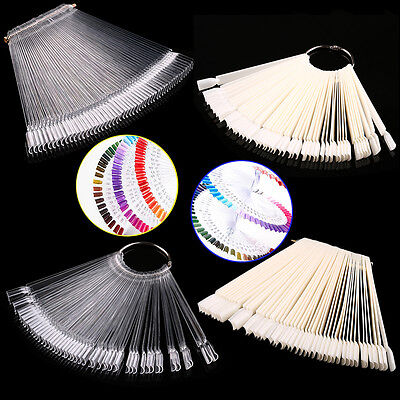 50Clear Fals Nail Art Tips Colour Pop Sticks Display Fan Practice Starter Ring E