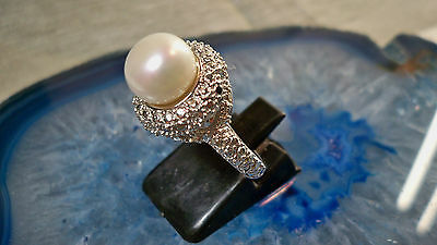 Sterling Silver Pearl Ring Size 6 marked CN 925 CGI