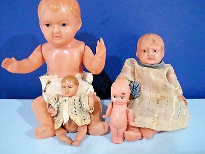 """Antique Lot of 4 CELLULOID BABY Dolls 7 """"- 2 1/2"""" One is Kewpie Japan plus Other"""