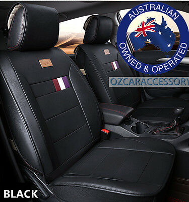 Black Universal Leather Car Seat Covers Full Set Toyota Camry Corolla RAV4 LM
