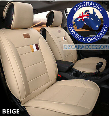 Beige Universal Leather Car Seat Covers Full Set Toyota Camry Corolla RAV4 LM