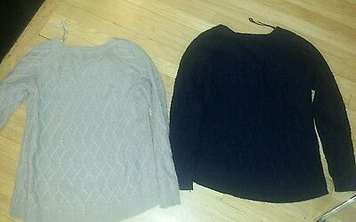 Lot of 2 Tahari Cable Knit Wool Cashmere Sweater High Low Beige Navy Large L