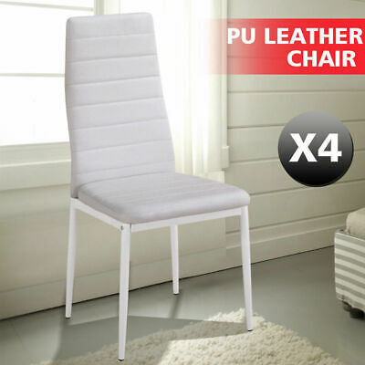 4 PCS PU Leather Modern Dining Chair Kitchen Stool Set High Back Seat