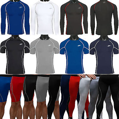 Mens Compression Armour Base Layer Tights Under Top Shorts Pants GYM Fitness Gym