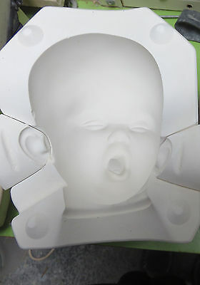 Plaster Mould / Mold Ceramic Porcelain Doll Head Drowsy Baby / Rare in Australia