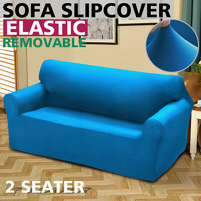 Removable Elastic 2 Seater Sofa Slipcover Lounge Couch Cover Blue