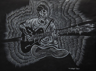 "White Charcoal Drawing ""the Guitarist"" Circa 2005 Original By Alexander Lugo"