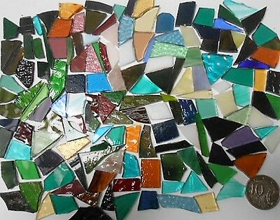 400g of colorful handcut mixed STAINED GLASS precut MOSAIC size pieces ART CRAFT