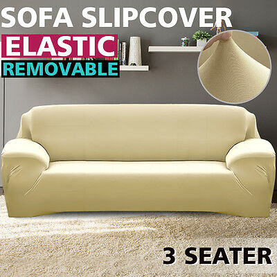 Removable Elastic 3 Seater Sofa Slipcover Lounge Couch Cover Cream