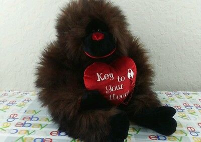 LARGE Plush Monkey Gorilla Key To Your Heart. VALENTINES DAY GIFT COLLECTABLE