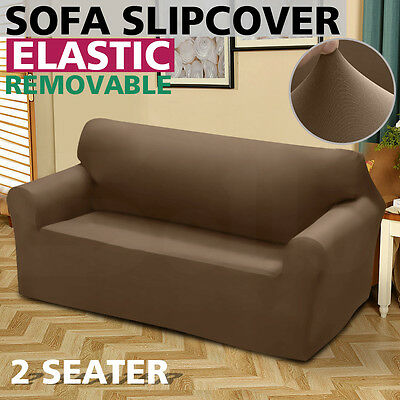 Removable Elastic 2 Seater Sofa Slipcover Lounge Couch Cover Taupe